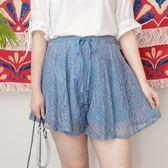 Poly Lulu 浪漫葉片蕾絲傘狀短褲裙-藍【96270012】