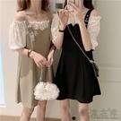 夏季新款法式小眾設計感假兩件一字肩泡泡袖顯瘦氣質背帶連身裙女