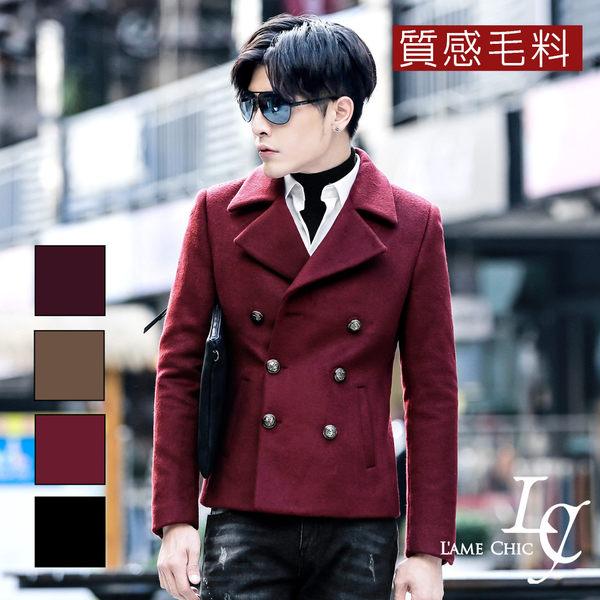 男 窄版/羊毛/毛料大衣 L AME CHIC 韓國製 翻駁領雙排扣質感羊毛短版大衣【CTCO102805】