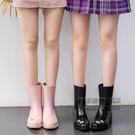 雨鞋女時尚款外穿韓版雨靴加絨可愛中筒女士高跟水鞋防滑水靴防水 每日下殺NMS