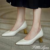 好好先生 氣質百搭款 尖頭單鞋女中跟淺口小皮鞋2020秋新款高跟鞋 范思蓮恩