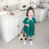 夏季女童裝 連身裙 寶寶短袖學院風 短裙子