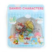 〔小禮堂〕Sanrio 大集合 透明貼紙組《藍雲朵海灘風》裝飾 夾鏈袋4901610 20563