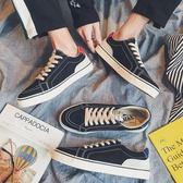 帆布鞋男士韓版休閒鞋低筒鞋青少年板鞋平底鞋潮流男鞋子 晴天時尚館