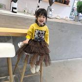 女童2019春裝新款韓版時尚豹紋半身裙女寶寶洋氣網紗裙蛋糕裙