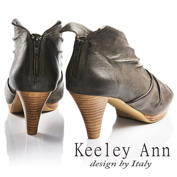 ★2017春夏★Keeley Ann獨立性格~時髦質感抓皺V字型全真皮魚口高跟鞋(灰色)
