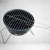戶外折疊便攜迷你燒烤架木炭不銹鋼網燒烤架圓型烤爐小型燒烤爐   夢曼森居家