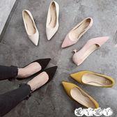 現貨中跟鞋 矮跟貓跟鞋單鞋低跟鞋韓版百搭尖頭黑色高跟鞋女愛丫愛丫5-3