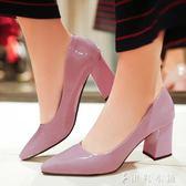 婚鞋 高跟鞋女粗跟淺口漆皮裸色單鞋女6cm中跟女鞋紅色婚鞋尖頭鞋 伊鞋本鋪