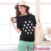 【RED HOUSE-蕾赫斯】愛心寬鬆針織衫(黑色)