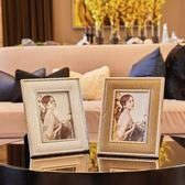 皮質相框現代簡約歐式裝飾品樣板房樣板間擺台創意7寸婚紗照金屬   LannaS