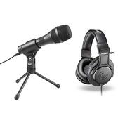 audio-technica 心型指向性動圈式USB/XLR麥克風AT2005USB + 專業型監聽耳機 ATHM20x