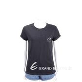 Karl Lagerfeld 刺繡字母標誌口袋黑色短袖T恤 1930201-01