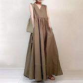 日系棉麻洋裝長裙~8888# 大擺寬松無袖裙子洋氣顯瘦中長款連身裙DC131衣時尚