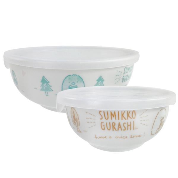 小禮堂 角落生物 陶瓷保鮮碗2入組 附蓋 (藍棕色款) 4983164-12290