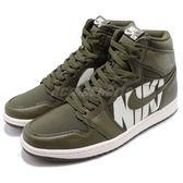 Nike Air Jordan 1 Retro High OG GS Big Logo 綠 軍綠 白 皮革 喬丹1代 男鞋 運動鞋【PUMP306】 555088-300