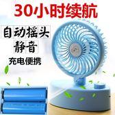 自動搖頭usb小風扇迷你學生宿舍用便攜式可充電帶裝電池 歐韓時代