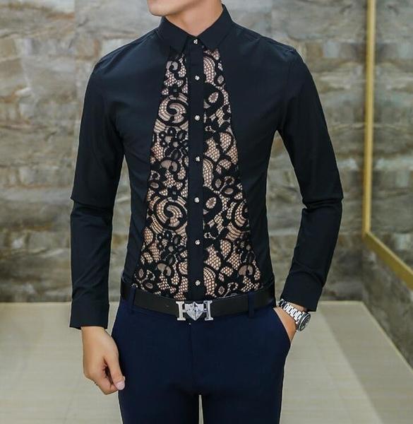 FINDSENSE品牌 男 時尚 潮 薄款 修身 蕾絲拼接 性感 長袖襯衫 刺繡
