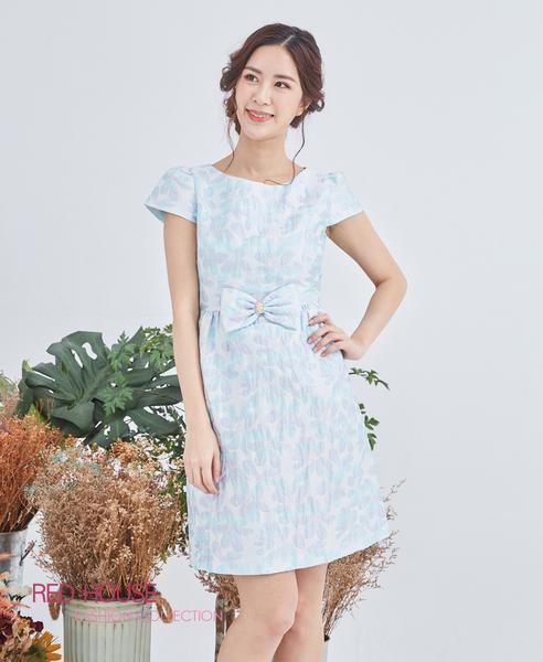 【RED HOUSE 蕾赫斯】花朵蝴蝶結洋裝(淺藍色)