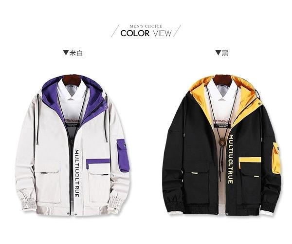 連帽外套 撞色工裝口袋中大尺碼防風夾克【NQ980011】