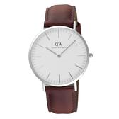 Daniel Wellington Andrews經典時尚皮帶男錶-銀框x咖啡