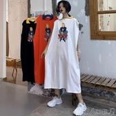 夏季2019新款韓版卡通polo衫慵懶風寬鬆無袖體恤裙中長款T恤女潮聖誕交換禮物