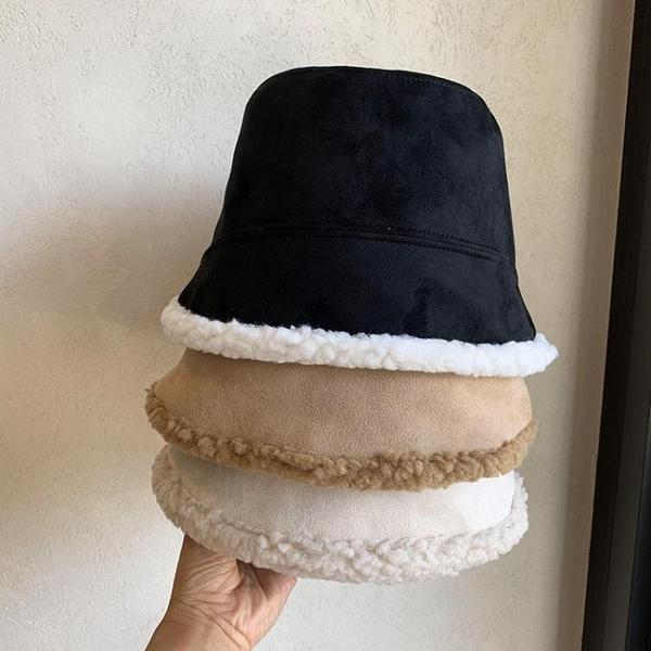 2021新品促銷 日系新款時尚鹿皮絨水桶漁夫帽子秋冬女加絨保暖素顏遮臉百搭盆帽