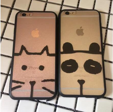 【SZ14】黑邊透明貓咪熊貓 iphone 6s 手機殼 iphone 6s plus手機殼i7 iPhone 7/8 plus手機殼