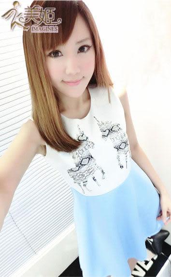 衣美姬 ♥ 韓版 甜美時尚 幾合小馬 無袖收腰修身 連身裙 洋裝【紫色】【現貨】