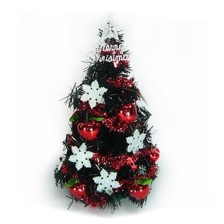 【南紡購物中心】【摩達客】台灣製1尺黑色聖誕樹+雪花紅果裝飾