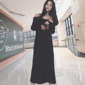 2018春夏新款韓版修身顯瘦中長款針織毛呢連衣裙禮服吊帶裙子 LI1685『時尚玩家』
