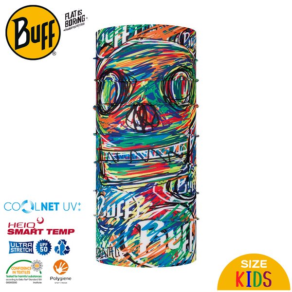 【BUFF 西班牙 兒童 COOLNET 抗UV頭巾《藝童創作》】122539/圍脖/帽子/口罩/圍巾/吸溼排汗