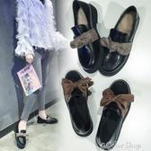 ins小皮鞋女黑色韓版百搭英倫風一腳蹬單鞋秋季軟底潮鞋 雙12購物節