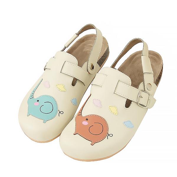 【Jingle】彩虹大象前包後空軟木休閒鞋(百搭米大人款)