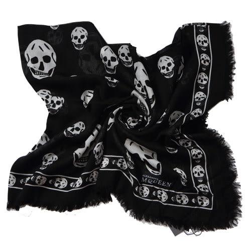 Alexander McQueen 經典骷髏混紡絲巾( 黑)