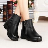 中筒靴35-41大尺碼靴子冬季棉鞋中年短靴女靴加絨刷毛保暖防滑媽媽鞋