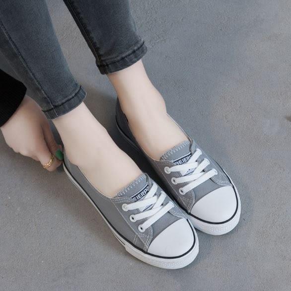 丁果、女鞋35-40►休閑素色淺口繫帶帆布鞋*5色(只賣現貨)