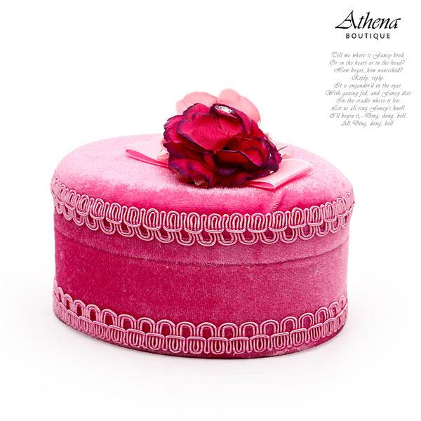 【雅典娜家飾】蜜糖色系韓國甜心絨布首飾盒(橢圓粉)-GG93