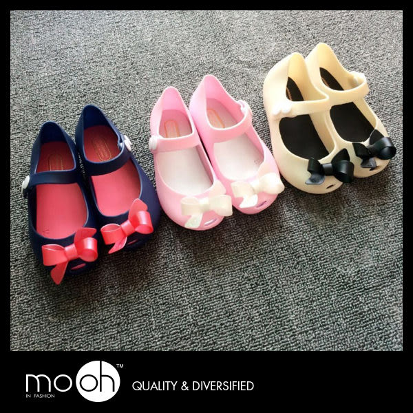 韓國 魚口 蝴蝶結 拚色 女童果凍鞋 兒童涼鞋 女童娃娃鞋 可愛 mo.oh (兒童鞋款)
