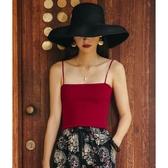 紅色平口細帶吊帶背心女外穿抹胸內搭打底裹胸一字領緊身黑色上衣