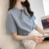 短袖襯衫 雪紡襯衫女2020年夏裝新款很仙的V領上衣設計感小眾輕熟短袖襯衣【快速出貨八五折】