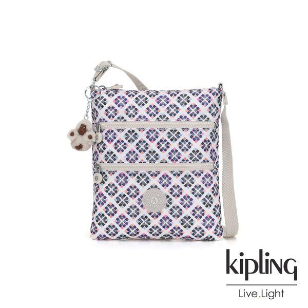 Kipling 復古花磚前袋雙拉鍊方型側背包-KEIKO