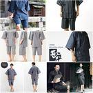 日本春夏季男士和服日式純棉短袖睡衣套裝日...