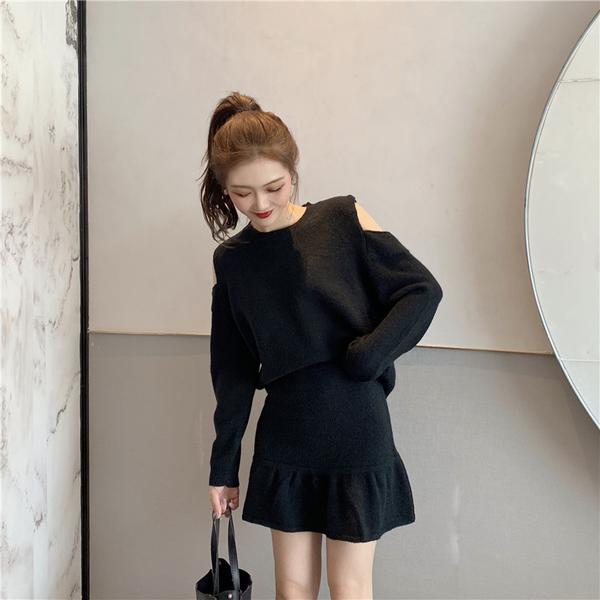 絕版出清 韓國風設計感針織露肩魚尾裙套裝長袖裙裝