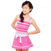 ★奧可那★ 粉紅條紋低腰裙泳衣