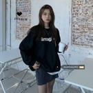 長袖黑色衛衣外套女韓版2020新款秋季寬鬆圓領加絨加厚上衣ins潮