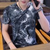 2019夏季男士短袖t恤男青少年v領汗衫韓版印花學生冰絲體恤上衣潮