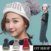 OT SHOP帽子‧台灣製MIT反摺英文MOON毛球雙層內裡‧針織帽毛帽‧日韓時尚保暖單品‧現貨灰色NC1758