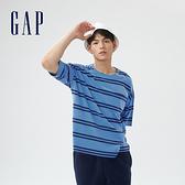 Gap男裝 厚磅密織系列碳素軟磨 素色純棉短袖T恤 735902-藍色條紋
