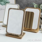 新款木質台式化妝鏡子女高清單面梳妝鏡美容鏡學生宿舍桌面鏡大號『新佰數位屋』